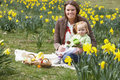 Free Mother And Daughter In Daffodil Field Royalty Free Stock Image - 17060486