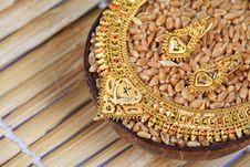 Free Golden Necklace And Ear-rings Jewellery Royalty Free Stock Image - 17060896