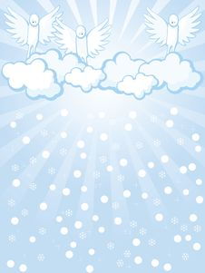 Angels And Snowfall Royalty Free Stock Photography