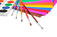 Free Brushes, Paints And A Color Paper Stock Photography - 17062542