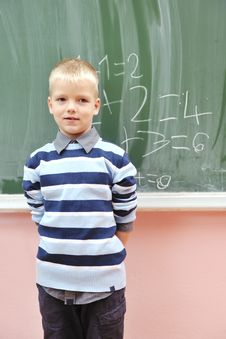 Free Happy Young Boy At First Grade Math Classes Stock Photos - 17062953