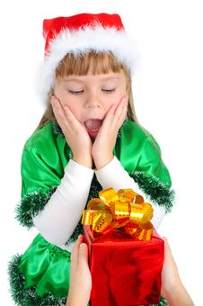 To The Girl In A Christmas Suit Give A Gift Stock Image
