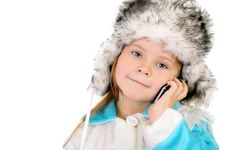 Free The Girl In A Winter Fur Cap Speaks By Phone Stock Photo - 17063080