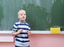 Free Happy Young Boy At First Grade Math Classes Royalty Free Stock Photography - 17063147