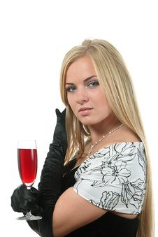 Free Blond In A Dress Drink Wine Royalty Free Stock Photography - 17063557
