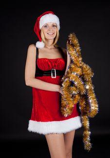 Free Christmas Girl Over Tinsel Stock Photography - 17063732