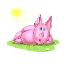 Amusing Piglet On The Glade Stock Image