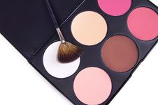 Free Make-up Brush On Eyeshadows Palette, Stock Images - 17064084
