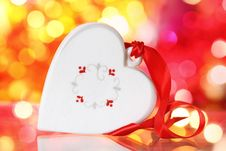 Christmas White Heart With Red Ribbon Royalty Free Stock Photos