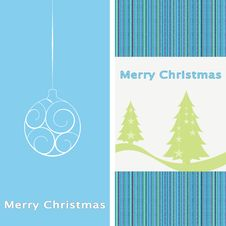 Free New Year Card With Christmas Ball And Tree Stock Photos - 17065203