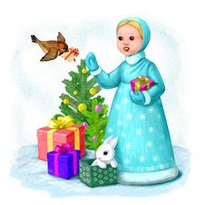 Little Snow Maiden With Letter Royalty Free Stock Image