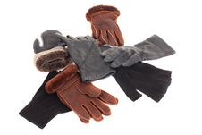 Leather Gloves With A White Background Royalty Free Stock Images