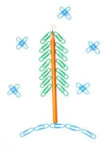 Free Paper Clip Christmas Tree Royalty Free Stock Photos - 17066708