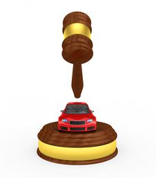 Free Gavel And Car - 3d Render Royalty Free Stock Images - 17066949