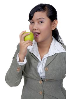 Free Asian Woman Eats Apple Royalty Free Stock Photo - 17067045