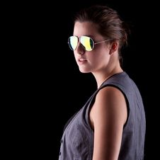 Cool Teenage Girl With Sunglasses Royalty Free Stock Photography