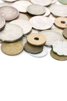 Free Old Coins Isolated On White Stock Photos - 17070493