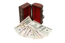 Free Money In Box Isolated On White Stock Photos - 17070603