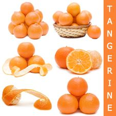Fresh Tangerines Isolated On White Background Royalty Free Stock Photography