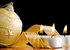 The Burning Candles And New Year S Toy Stock Images