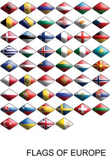 Flags Of Europe, Countries, Nations, Colours Royalty Free Stock Image