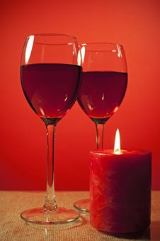 Free Glass Of Wine And A Candle Royalty Free Stock Image - 17074186