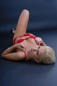 Sexy Young Woman In Red Lingerie Royalty Free Stock Photography