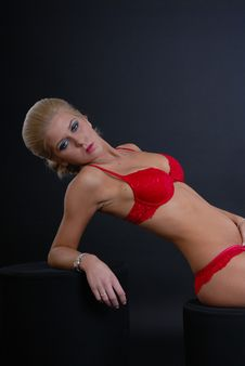 Sexy Young Woman In Red Lingerie Royalty Free Stock Photos