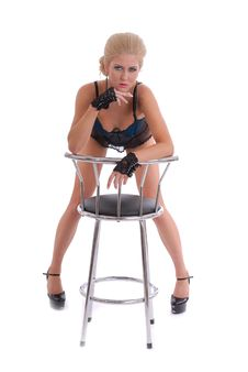 Free Beautiful Young Woman In Lingerie With Stool Stock Images - 17075094