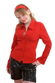 Free Fashionable Girl In Red Shirt Royalty Free Stock Images - 17075289