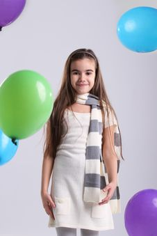 Free Little Smiling Girl With Balloons Royalty Free Stock Photo - 17075915