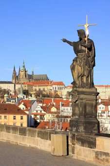 Free Baroque Statue On Prague Charles Bridge Royalty Free Stock Image - 17076696