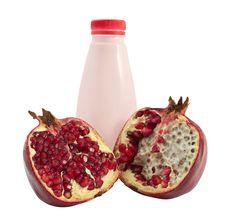 Free Bottle Of Yogurt And Pomegranate Stock Images - 17077094