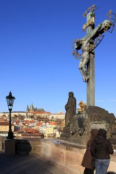 Prague Gothic Castle With The Charles Bridge Royalty Free Stock Photography
