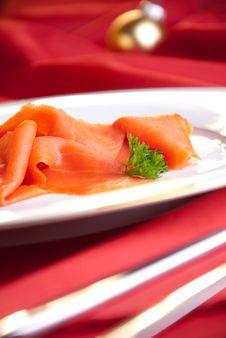Smoked Salmon For Christmas Royalty Free Stock Image