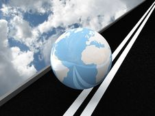 Free Planet Earth On The Asphalt Against The Sky. 3D Royalty Free Stock Images - 17077559