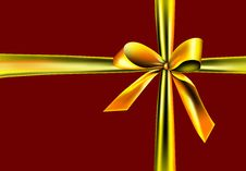 Free Golden Ribbon On A Red Background Stock Image - 17077851
