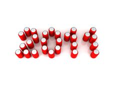 Years 2011 Of Red Aluminum Cans Stock Photos