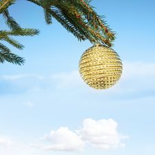 Free Bauble Haning On Christmas Tree Stock Image - 17077921