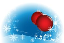 Free Blue Winter With Red Balls Royalty Free Stock Photography - 17078027
