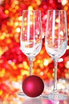Free Two Empty Glasses And Red Ball Decoration Stock Image - 17078041