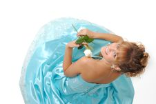Free Girl With White Rose Wearing A Dress Stock Images - 17078804