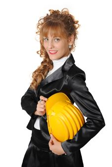 Free Business Woman With Safety Hat Royalty Free Stock Images - 17078819