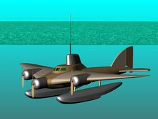 Free Flying Submarine. In Action. Royalty Free Stock Photos - 17079158