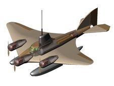 Free Flying Submarine. Layout. Royalty Free Stock Photo - 17079195