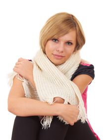 Free Girl Sitting At Home Wrapped In A Warm Scarf Royalty Free Stock Images - 17079309