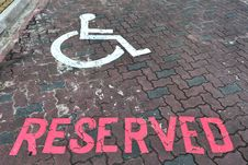 Reserved Parking Lot For The Handicap Stock Image