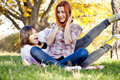 Free Two Beautiful Girlfriends At The Autumn Park Royalty Free Stock Photography - 17083867