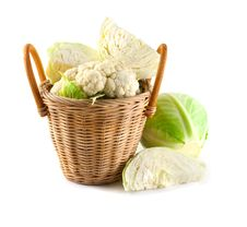 Free Cabbage In A Basket. Royalty Free Stock Photo - 17082075