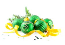Free Christmas Balls With Yellow Tape Stock Photography - 17082162